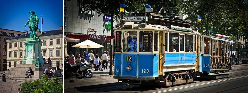 Gustav Adolfs Torg - Göteborgs mycket typiska spårvagnar i äldre modell.