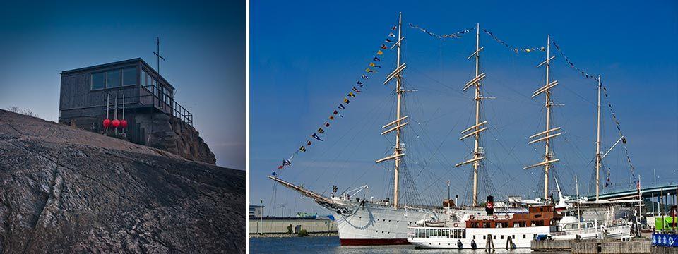 Barken Viking byggd i Danmark som skolfartyg men är idag hotell och restaurang.